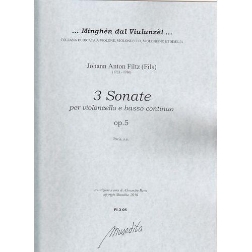 MUSEDITA FILZ J.A. - 3 SONATE OP. 5 - VIOLONCELLE