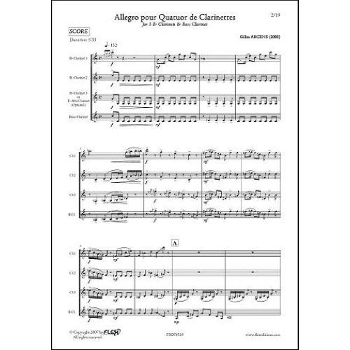 FLEX EDITIONS ARCENS G. - ALLEGRO POUR QUATUOR DE CLARINETTES - CLARINET QUARTET