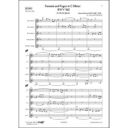 FLEX EDITIONS BACH J.S. - FANTASIA AND FUGUE IN C MINOR - BWV 562 - CLARINET QUINTET
