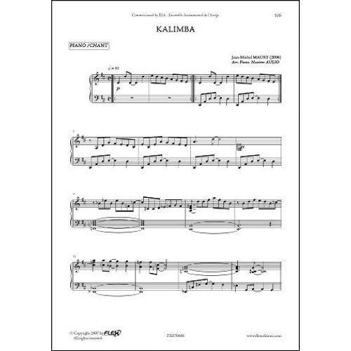 FLEX EDITIONS MAURY J.-M. - KALIMBA - CHILDREN'S CHOIR AND PIANO
