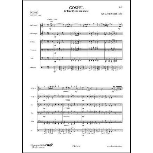 FLEX EDITIONS WINCKELS S. - GOSPEL - BRASS QUINTET AND PERCUSSIONS