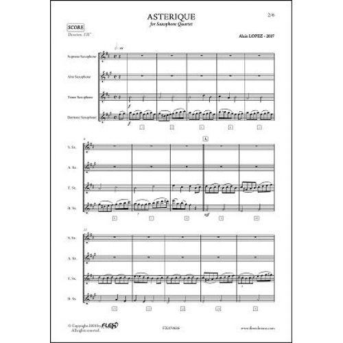 FLEX EDITIONS LOPEZ A. - ASTERIQUE - SAXOPHONE QUARTET
