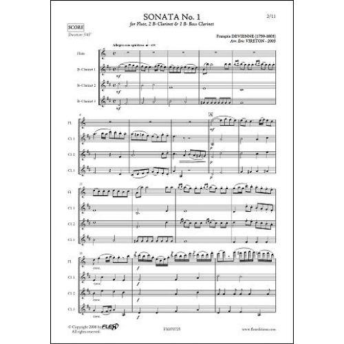 FLEX EDITIONS DEVIENNE F. - SONATE NO. 1 - FLUTE SOLO & TRIO DE CLARINETTES