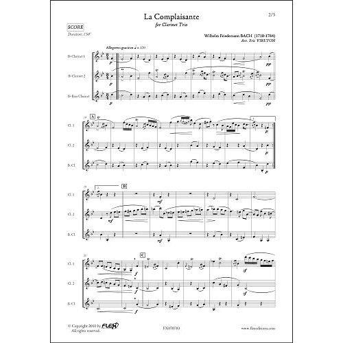 FLEX EDITIONS BACH W.F. - LA COMPLAISANTE - CLARINET TRIO