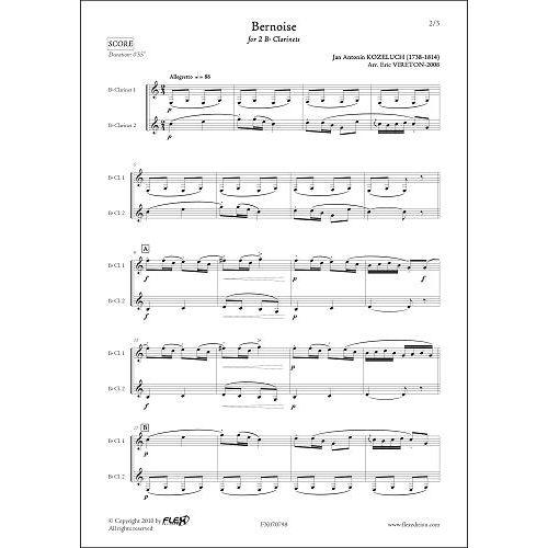 FLEX EDITIONS KOZELUCH J.A. - BERNOISE - CLARINET DUET