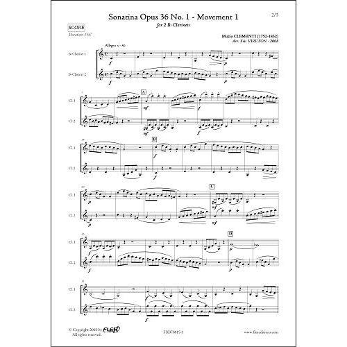 FLEX EDITIONS CLEMENTI M. - SONATINA OPUS 36 NO. 1 - MVT 1 - CLARINET DUET