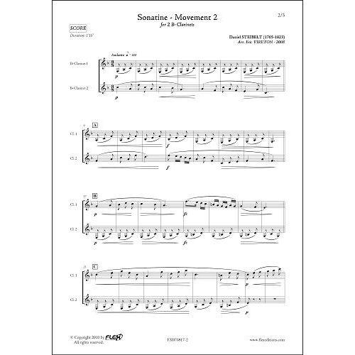 FLEX EDITIONS STEIBELT D. - SONATINE - MOUVEMENT 2 - DUO DE CLARINETTES