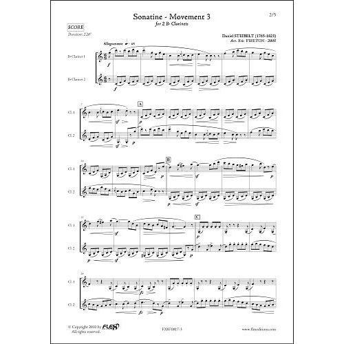 FLEX EDITIONS STEIBELT D. - SONATINE - MOUVEMENT 3 - CLARINET DUET
