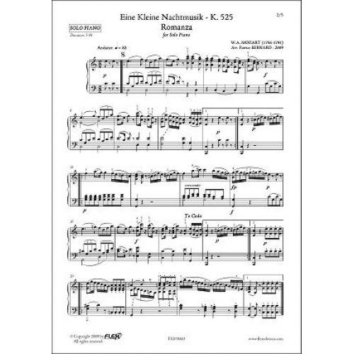 FLEX EDITIONS MOZART W.A. - A LITTLE NIGHT MUSIC - ROMANCE - ROMANZA - SOLO PIANO