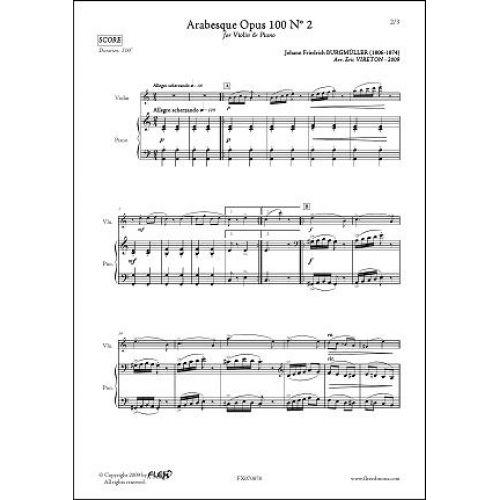 FLEX EDITIONS BURGMÜLLER J.F. - ARABESQUE OPUS 100 NO. 2 - VIOLIN & PIANO
