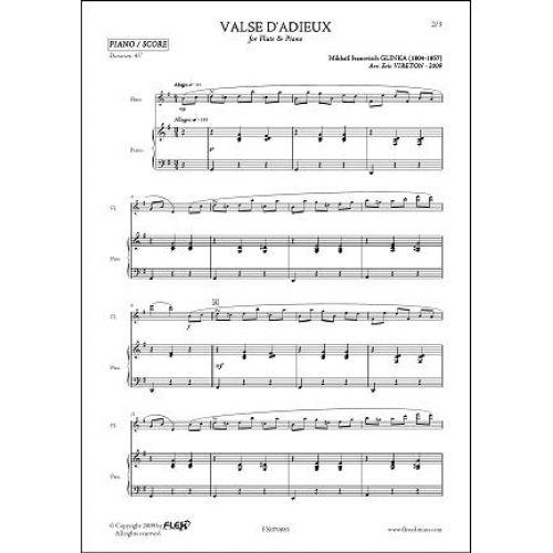 FLEX EDITIONS GLINKA M.I. - VALSE D'ADIEUX - FLUTE & PIANO