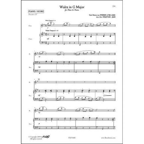 FLEX EDITIONS WEBER C.M. VON - VALSE EN SOL MAJEUR - FLUTE & PIANO