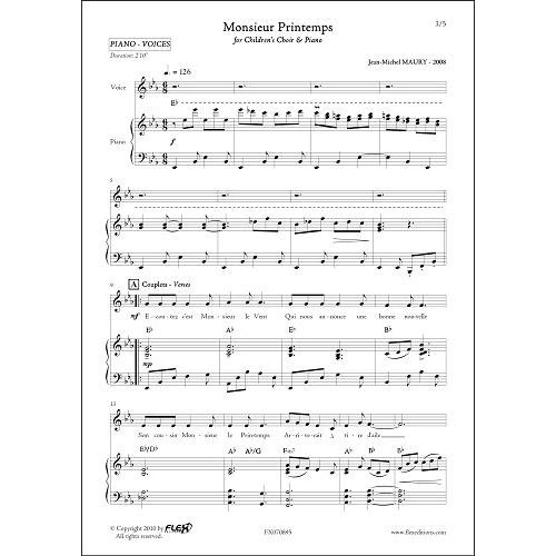 FLEX EDITIONS MAURY J.-M. - MONSIEUR PRINTEMPS - CHILDREN'S CHOIR AND PIANO