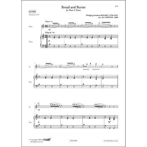 FLEX EDITIONS MOZART W.A. - BREAD AND BUTTER - FLUTE & PIANO