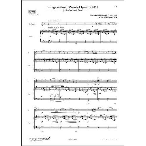 FLEX EDITIONS MENDELSSOHN F. - SONGS WITHOUT WORDS OPUS 53 NO. 1 - CLARINET
