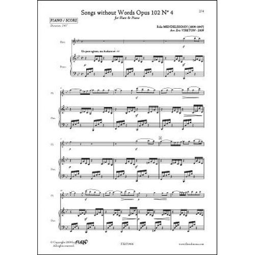 FLEX EDITIONS MENDELSSOHN F. - SONGS WITHOUT WORDS OPUS 102 NO. 4 - FLUTE & PIANO