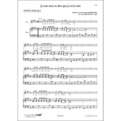FLEX EDITIONS GAINSBOURG S. - JE SUIS VENU TE DIRE QUE JE M'EN VAIS - PIANO SOLO