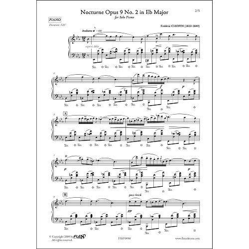 FLEX EDITIONS CHOPIN F. - NOCTURNE OPUS 9 NO. 2 IN EB MAJOR - SOLO PIANO