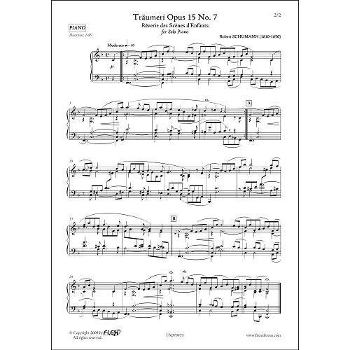 FLEX EDITIONS SCHUMANN R. - TRAUMERI OPUS 15 NO. 7 - SOLO PIANO