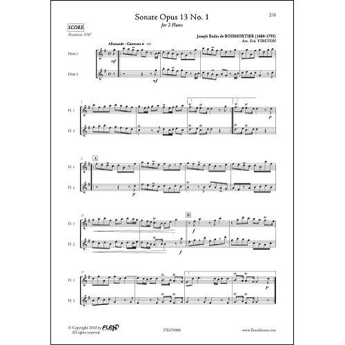 FLEX EDITIONS BOISMORTIER J.B. - SONATE OPUS 13 NO. 1 - DUO DE FLUTES