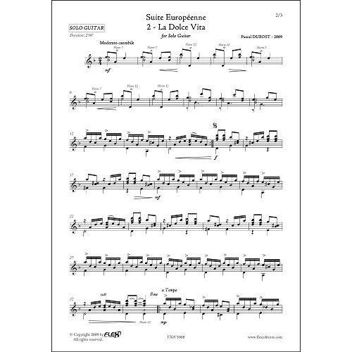 FLEX EDITIONS DUBOST P. - SUITE EUROPEENNE - 2 - LA DOLCE VITA - SOLO GUITAR