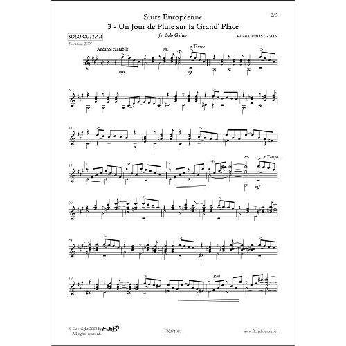 FLEX EDITIONS DUBOST P. - SUITE EUROPEENNE - 3 - UN JOUR DE PLUIE SUR LA GRAND' PLACE - SOLO GUITAR