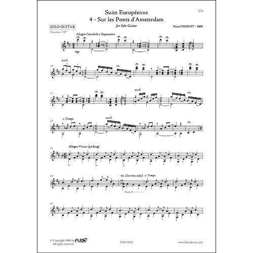 FLEX EDITIONS DUBOST P. - SUITE EUROPEENNE - 4 - SUR LES PONTS D'AMSTERDAM - SOLO GUITAR