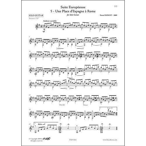 FLEX EDITIONS DUBOST P. - SUITE EUROPEENNE - 5 - UNE PLACE D'ESPAGNE A ROME - SOLO GUITAR