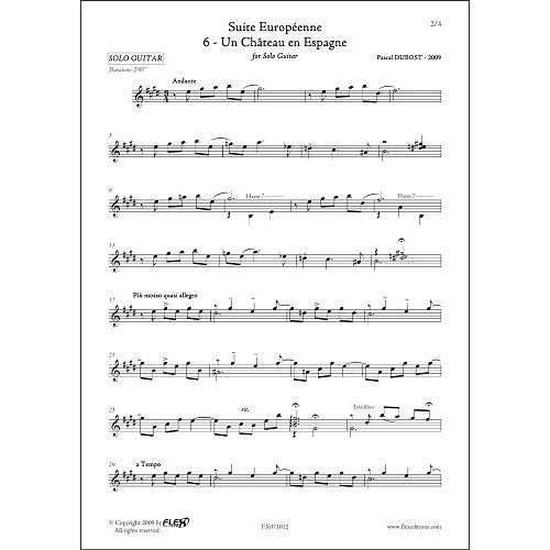 FLEX EDITIONS DUBOST P. - SUITE EUROPEENNE - 6 - UN CHATEAU EN ESPAGNE - SOLO GUITAR