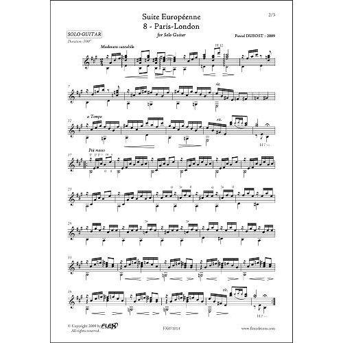 FLEX EDITIONS DUBOST P. - SUITE EUROPEENNE - 8 - PARIS LONDON - SOLO GUITAR