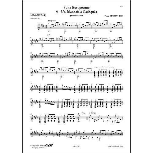 FLEX EDITIONS DUBOST P. - SUITE EUROPEENNE - 9 - UN IRLANDAIS A CADAQUES - SOLO GUITAR