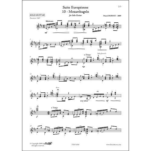 FLEX EDITIONS DUBOST P. - SUITE EUROPEENNE - 10 - MOZARTKUGELN - SOLO GUITAR