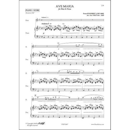 FLEX EDITIONS SCHUBERT F. - AVE MARIA - FLUTE & PIANO