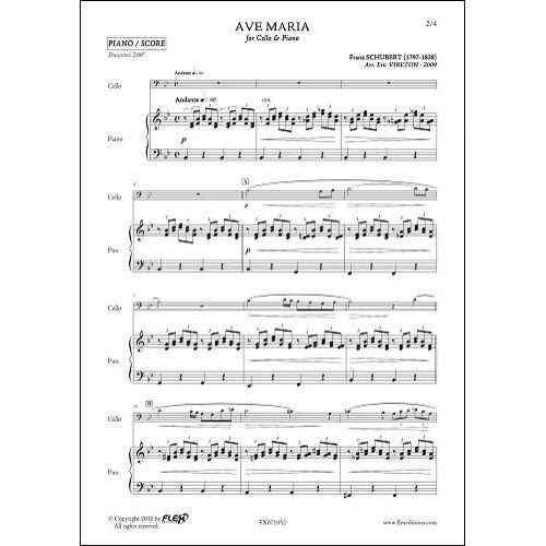 FLEX EDITIONS SCHUBERT F. - AVE MARIA - CELLO & PIANO