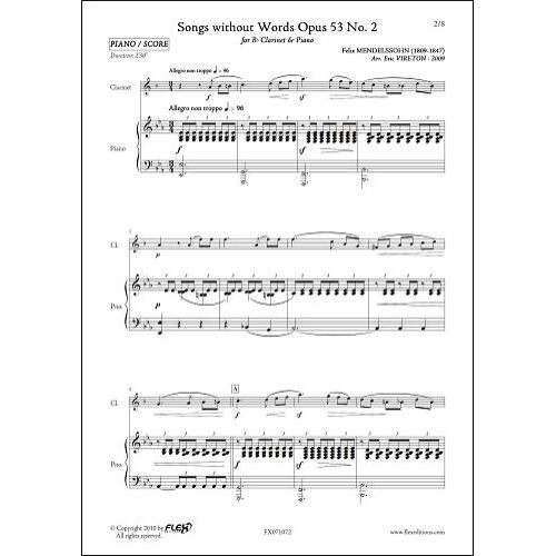 FLEX EDITIONS MENDELSSOHN F. - SONGS WITHOUT WORDS OPUS 53 NO. 2 - CLARINET & PIANO
