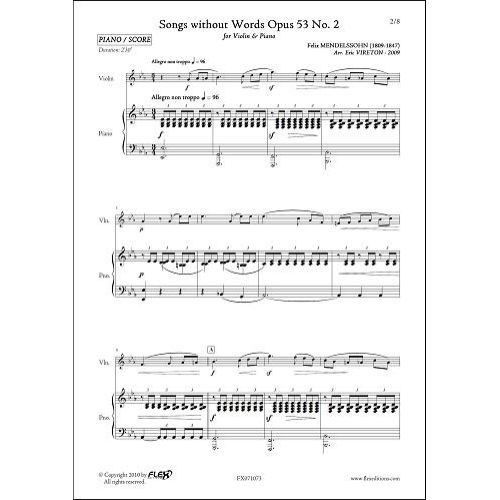 FLEX EDITIONS MENDELSSOHN F. - SONGS WITHOUT WORDS OPUS 53 NO 2 - VIOLIN AND PIANO