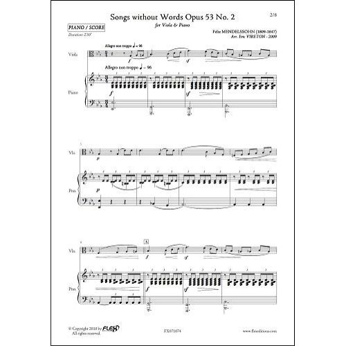FLEX EDITIONS MENDELSSOHN F. - SONGS WITHOUT WORDS OPUS 53 NO 2 - VIOLA AND PIANO