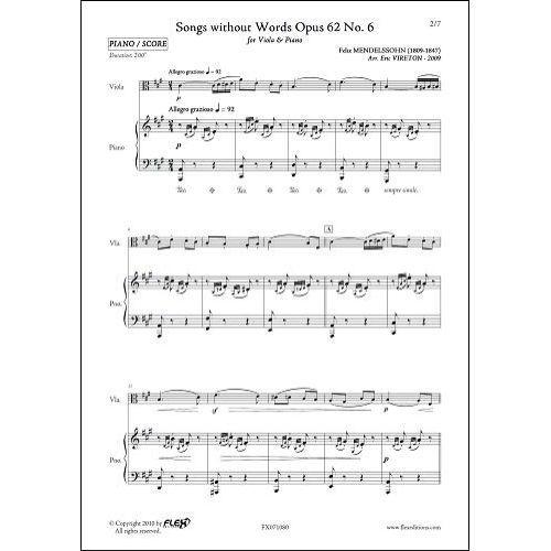 FLEX EDITIONS MENDELSSOHN F. - SONGS WITHOUT WORDS OPUS 62 NO 6 - VIOLA AND PIANO