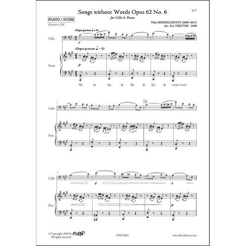 FLEX EDITIONS MENDELSSOHN F. - SONGS WITHOUT WORDS OPUS 62 NO 6 - CELLO AND PIANO