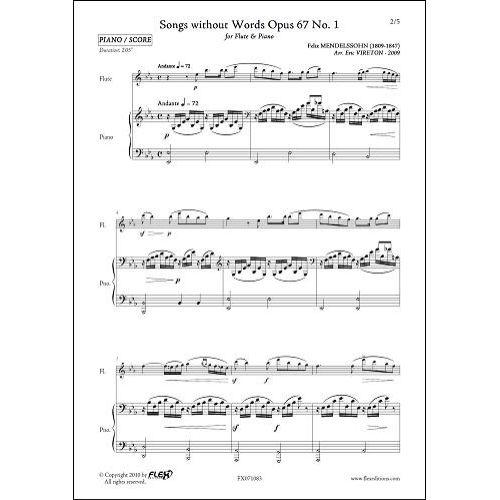 FLEX EDITIONS MENDELSSOHN F. - ROMANCES SANS PAROLES OPUS 67 NO. 1 - FLUTE & PIANO