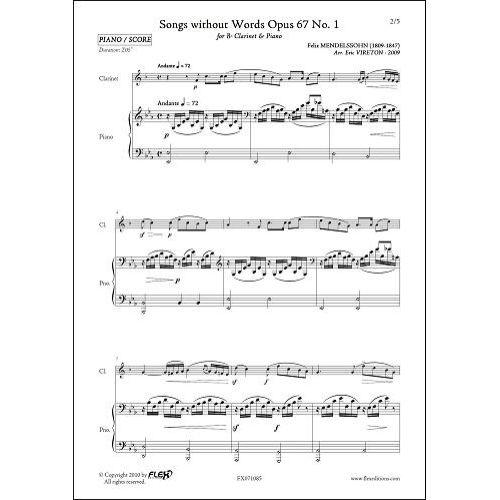 FLEX EDITIONS MENDELSSOHN F. - ROMANCES SANS PAROLES OPUS 67 NO. 1 - CLARINETTE & PIANO