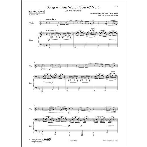 FLEX EDITIONS MENDELSSOHN F. - SONGS WITHOUT WORDS OPUS 67 NO 1 - VIOLIN AND PIANO