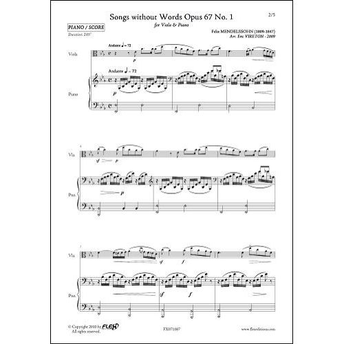 FLEX EDITIONS MENDELSSOHN F. - SONGS WITHOUT WORDS OPUS 67 NO 1 - VIOLA AND PIANO