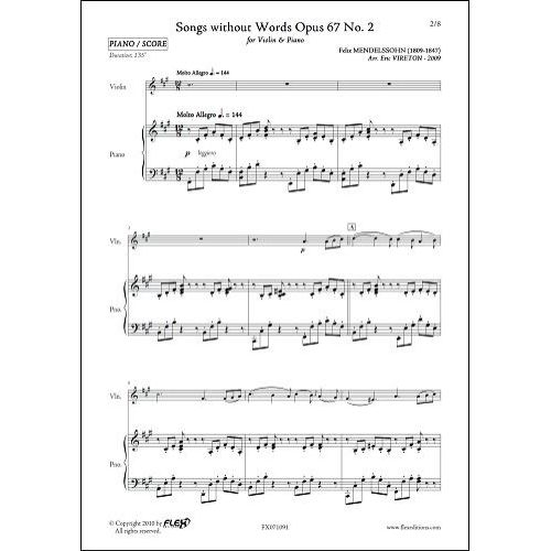 FLEX EDITIONS MENDELSSOHN F. - SONGS WITHOUT WORDS OPUS 67 NO 2 - VIOLIN AND PIANO