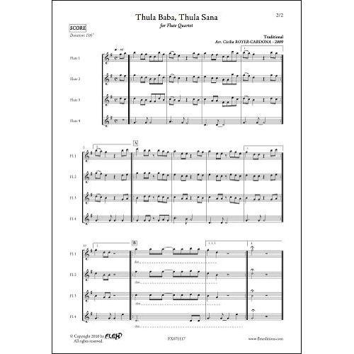 FLEX EDITIONS ROYER-CARDONA C. - THULA BABA, THULA SANA - FLUTE QUARTET