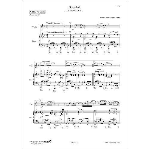 FLEX EDITIONS BERNARD P. - SOLEDAD - VIOLIN & PIANO