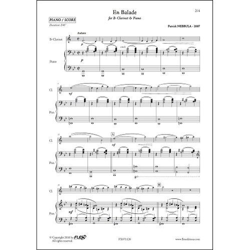 FLEX EDITIONS NEBBULA P. - EN BALADE - CLARINET AND PIANO