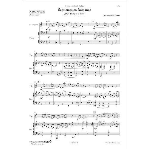 FLEX EDITIONS LOPEZ A. - SEPTIEMES EN ROMANCE - TRUMPET & PIANO