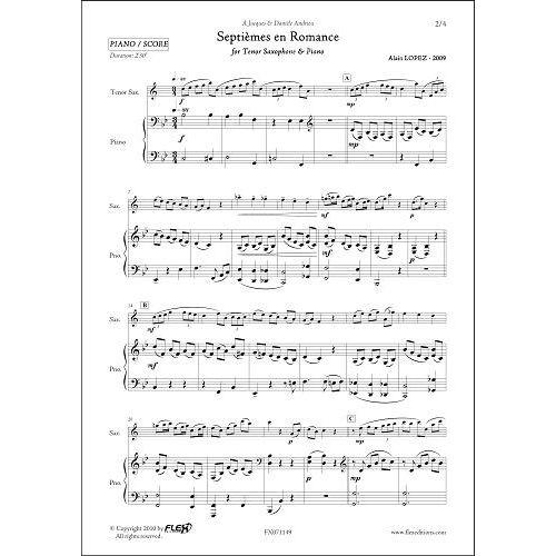 FLEX EDITIONS LOPEZ A. - SEPTIEMES EN ROMANCE - TENOR SAXOPHONE & PIANO