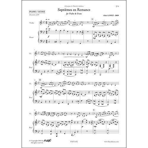 FLEX EDITIONS LOPEZ A. - SEPTIEMES EN ROMANCE - VIOLON & PIANO